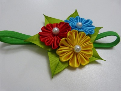 DIY Moños decorados con flores accesorios para niña paso a paso