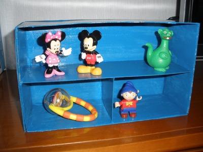Mini-estanteria, organizador con una caja de zapatos. Manualidades, crafts.