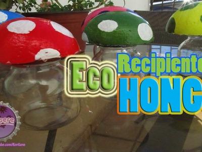 Recipiente-Hongo. Dulcero-Decorativo (decorative mushrooms jar)