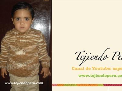 Chompa o sweater tejdo en dos agujas para niños (Parte 2)