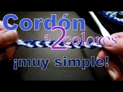Cómo tejer un cordón a dos colores (simple cord) -tejido para zurdos-