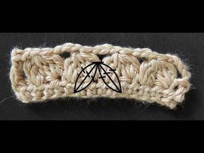 Curso Basico de Crochet : Seis puntos altos cerrados juntos, tomados en dos espacios