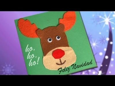 Cómo hacer una postal de Navidad con un Reno de fieltro