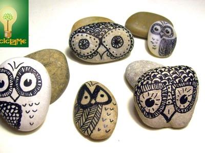 Como pintar un buho de la suerte sobre piedra de río