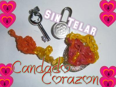 Corazón de Gomitas( Candado de Corazon)Sin telar. Rainbow Loom Heart Padlock