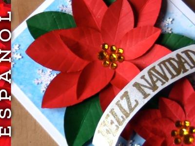 DIY: Tarjeta de Navidad con poinsettias de papel-Fácil!
