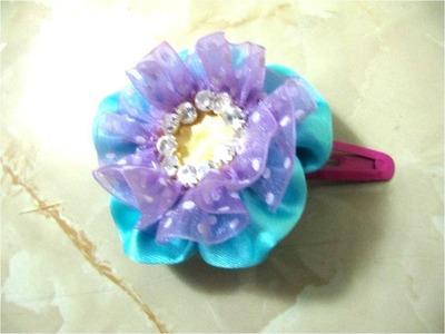 Moños  flor pon pon con strass para el cabello