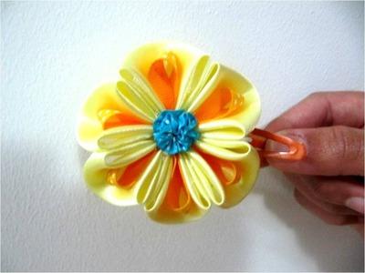 Moños para el cabello  hermosas flores en cintas dobladas