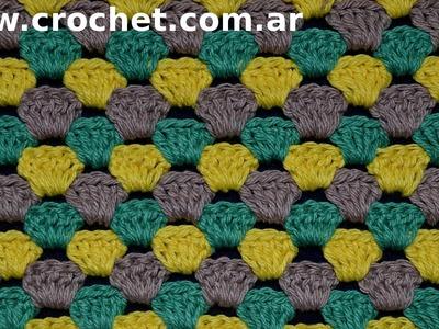 Punto Fantasía N° 45 en tejido crochet tutorial paso a paso.