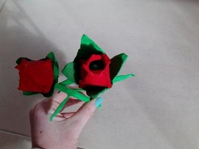 Tutorial  rosas con carton de huevos