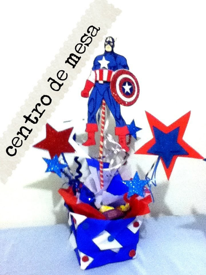 Centró de mesa fiesta Capitan America papel China fomy limpia pipas holiday centerpieces