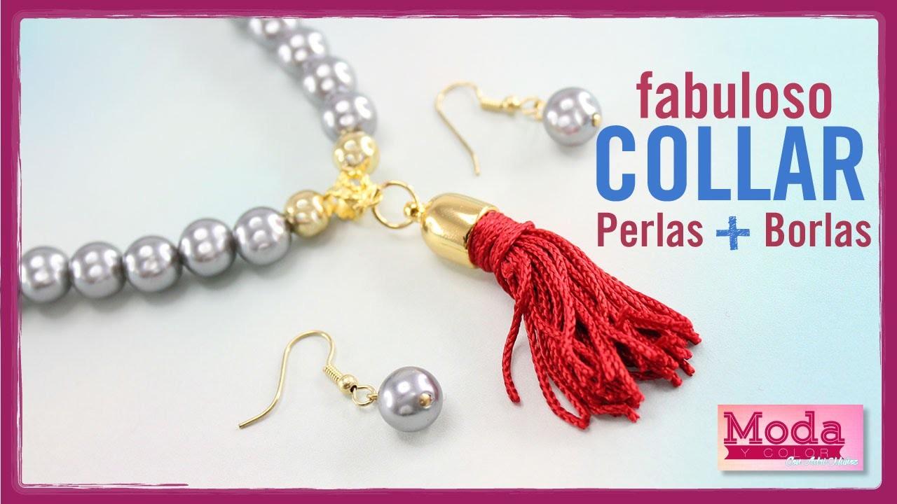 Como hacer collar perla gris borla roja Kit 19979