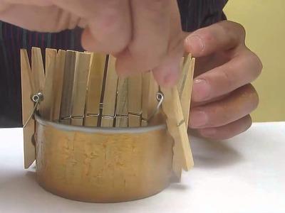 Como hacer una lampara con ganchos de madera