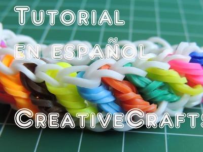 Como hacer una pulsera de gomitas ( ligas, hules) ROTINI. Rainbow Loom Bracelet Rotini.