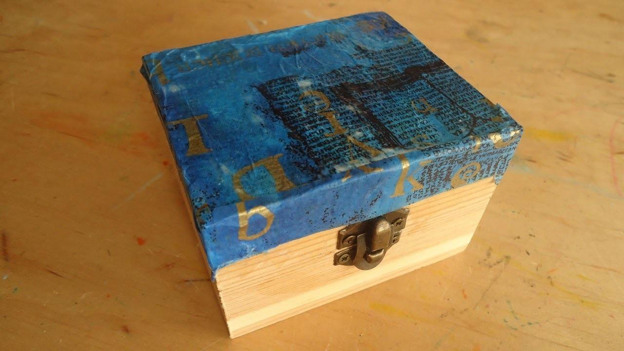 Decoración de una caja de madera con papel de seda. Manualidad para niños