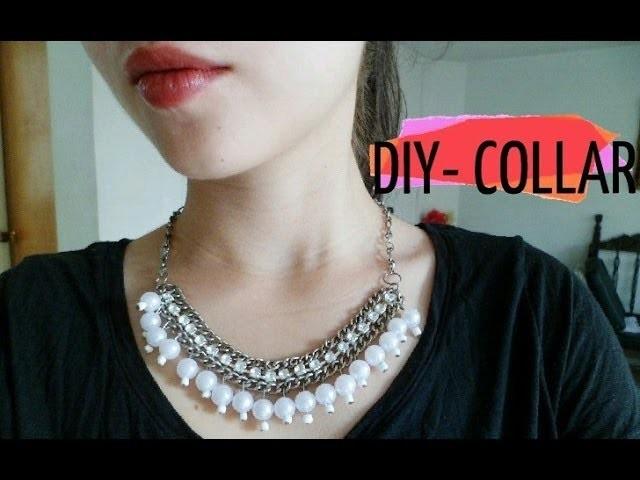 DIY- Collar cadena con perlas y cuentas de cristal.Necklace chain
