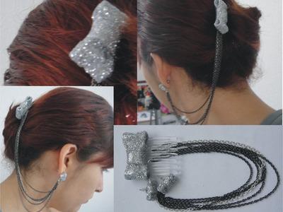 DIY♥Haz tus propios accesorios (aretes de peineta con moño)