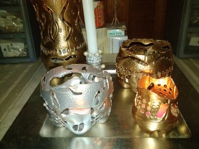 DIY Portavelas reciclando. Candle Holders Recycling