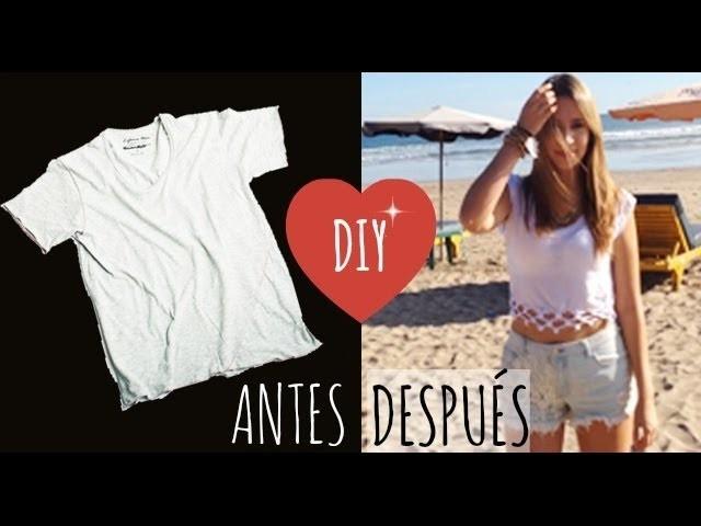 DIY - Transforma tu camiseta en un crop top de verano ♡ ɴᴀɴᴄʏ