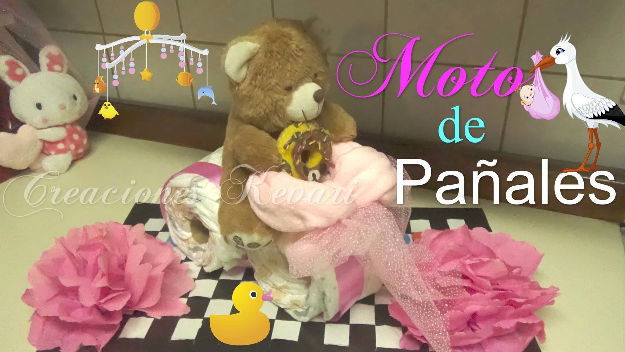 Moto de Pañales Regalo o Centro de Mesa Baby Shower.How to Make A Motorcycle Diaper