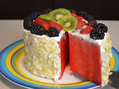 Pastel de frutas FÁCIL, SIN HORNO (sandía) | Recetas de cocina fáciles | Recetas de postres facil