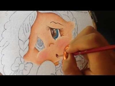 Pintura en tela niña uva # 1 con cony