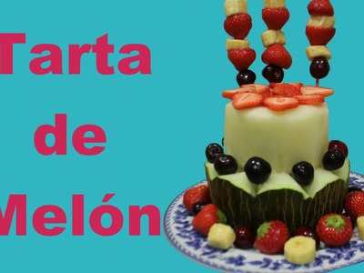 Tarta de melón con frutas. Postre veraniego