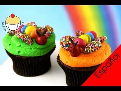 ¡Cupcakes! Cupcakes Infantiles con un Jardín de Mariposas - MiAdiccionaCupcakes
