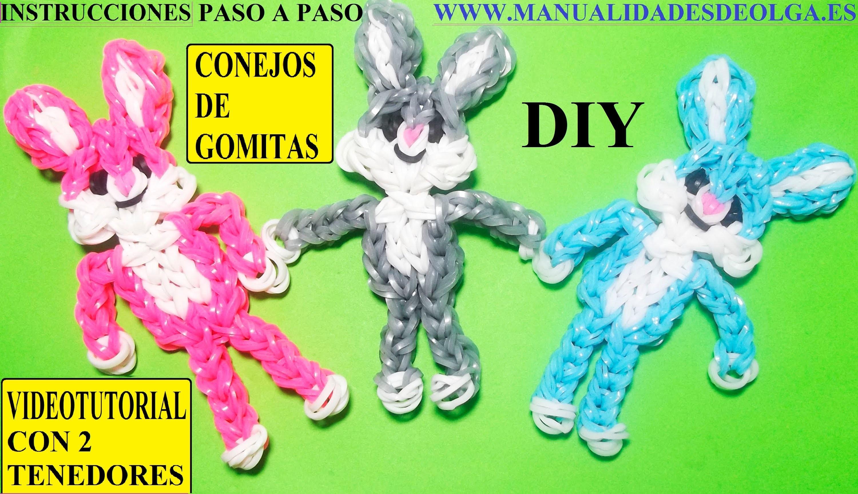 COMO HACER UN CONEJO DE GOMITAS (LIGAS) FIGURA- CHARMS CON DOS TENEDORES. BUNNY CHARM