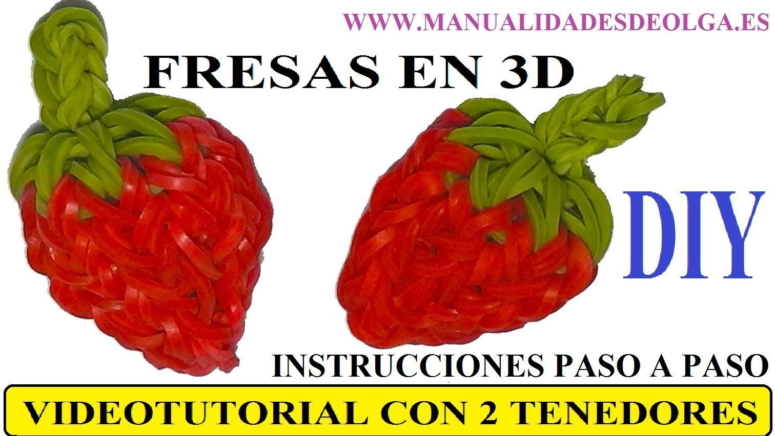 COMO HACER UNA FRESA 3D DE GOMITAS (LIGAS) CHARMS CON DOS TENEDORES. VIDEOTUTORIAL DIY.