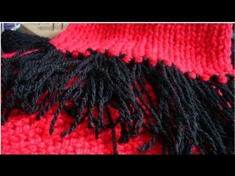 Como ponerle barbitas-flecos a tu bufanda. estilo 2