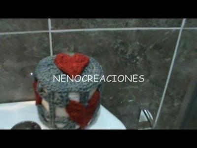 COMO TEJER JUEGO DE BAÑO, FORRO PARA ROLLO DE PAPEL