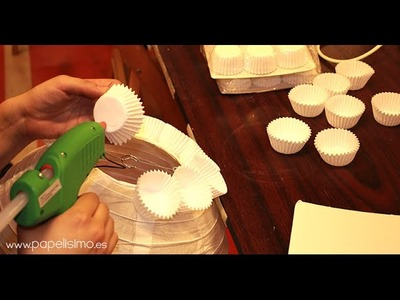 Lámpara de papel cupcakes (magdalenas)
