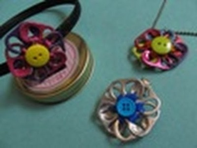Reciclaje: Collar + Dije de Flor MULTIUSOS.Colección ECO-CHIC.