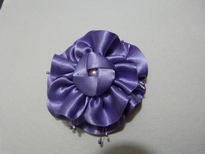 Turorial como hacer flores moños  en cinta  organza para el cabello paso a paso vídeo No224.