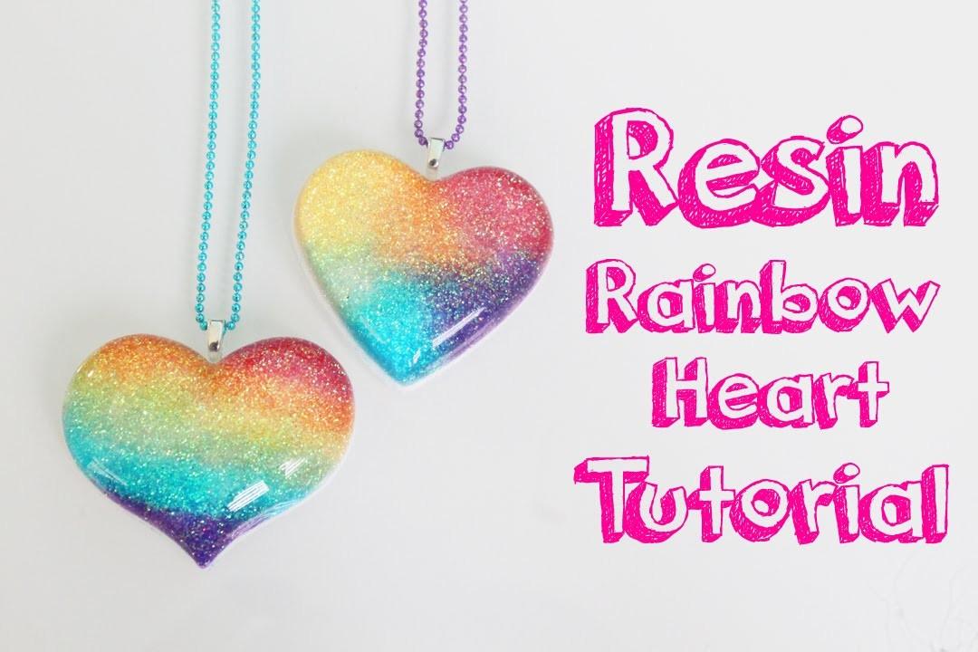 Tutorial de resina: Corazon de arcoiris - Resin tutorial: Rainbow heart charm
