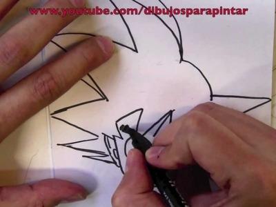 Cómo dibujar a Goku paso a paso a lápiz y rotulador - Dibujos para Pintar