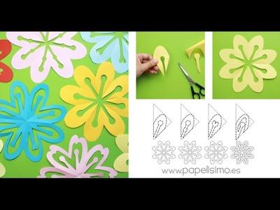 Cómo hacer flores doblando y recortando papel (kirigami paper flowers)