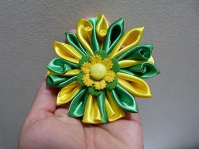 Como hacer flores dobles en cinta para el cabello paso a paso: Manualidadeslahormiga