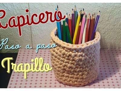 ☆ Cómo hacer un Lapicero. Cesto de Trapillo (paso a paso) ☆