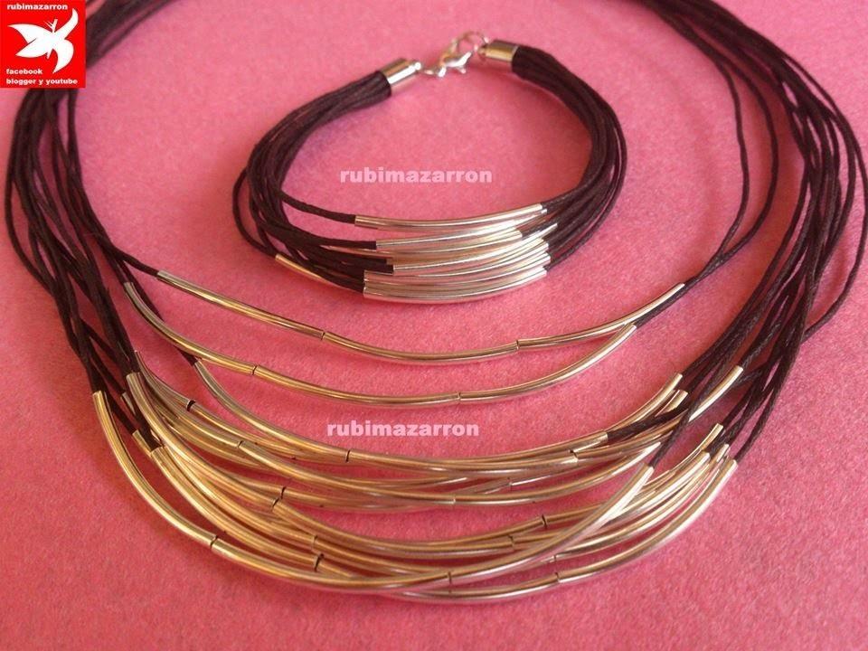DIY.Collar multihilo con tubos plateados.Necklace handmade