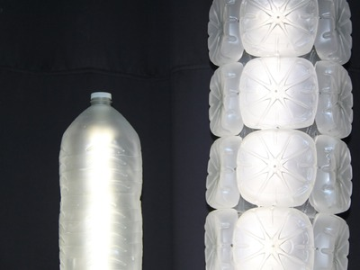 Lámpara realizada con garrafas de plástico recicladas - Lamp made with recycled plastic bottles
