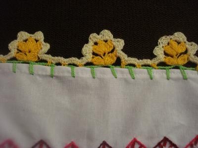 Orilla Tejida Pequeñas  Florecitas # 15 Servilletas