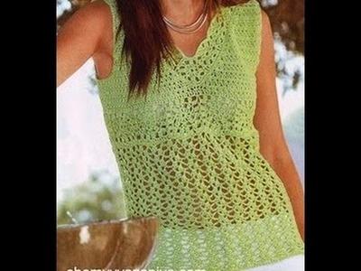 Blusa Ligera Verde Claro Tejida a Crochet