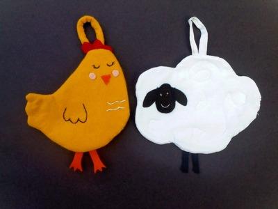 Como hacer agarraderas para  la cocina  gallina y oveja