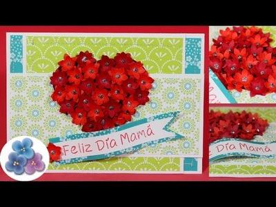 Como Hacer Tarjetas Corazon con Flores 3D Dia de la Madre y Amor San Valentin *DIY Pintura Facil