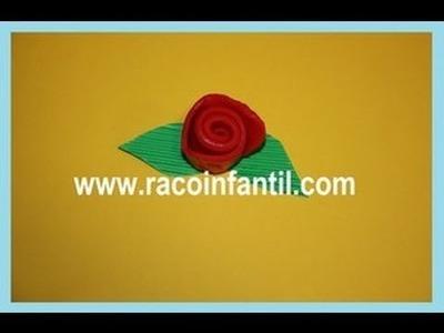 Como hacer una flor de plastelina facil y original (www.racoinfantil.com)