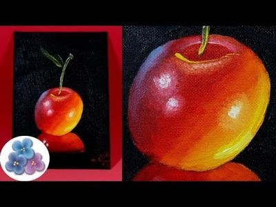 Como Pintar al Oleo Cerezas DIY *Cherry Oil Painting* Pintar Cuadros Modernos Pintura Facil