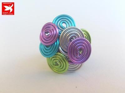 DIY: Como hacer anillo multicolor de alambre de aluminio.