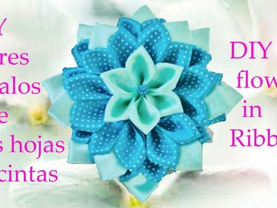 DIY Kanzashi flores pétalos de tres hojas en cintas - flowers with petals of three leaves in ribbons